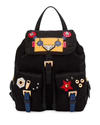 Robot Small Two-Pocket Backpack, Black/Multi (Nero)