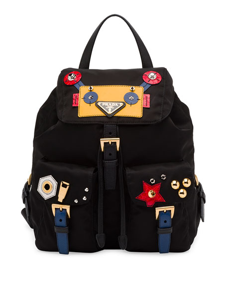 06e6bdcd8090 buy prada robot small two pocket backpack black multi nero neiman marcus  c32e7 f46ca