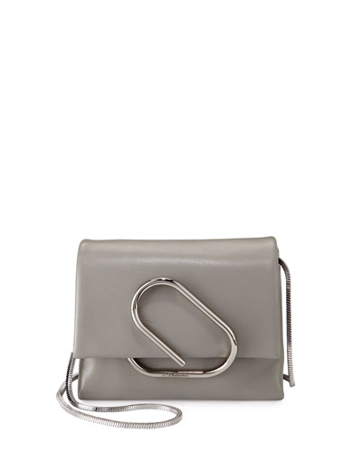Alix Micro Leather Crossbody Bag, Cement