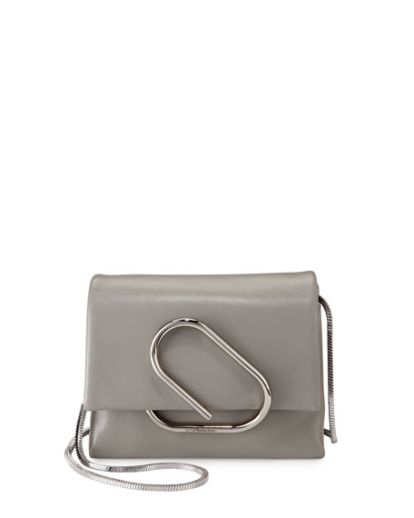 Image 1 of 4: Alix Micro Leather Crossbody Bag, Cement