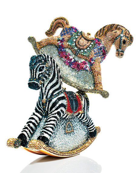 Toby Zebra Rocking Horse Evening Clutch Bag, Champagne/Multi