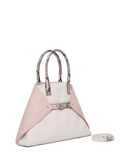 Ai Small Top-Handle Python & Leather Shoulder Bag, Rose/Rock