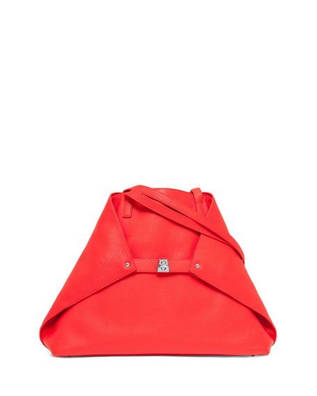 Akris Ai Medium Soft Leather Tote Bag, Scarlet