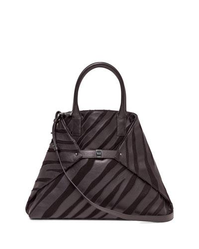 Ai Medium Top-Handle Zebra-Stripe Shoulder Bag, Black