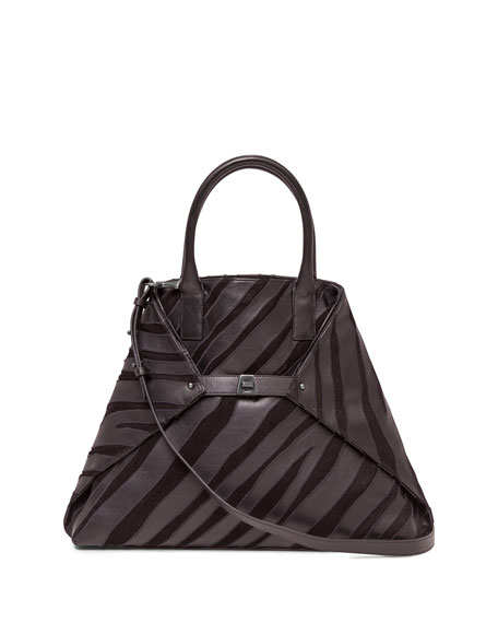 Akris Ai Medium Top-Handle Zebra-Stripe Shoulder Bag, Black