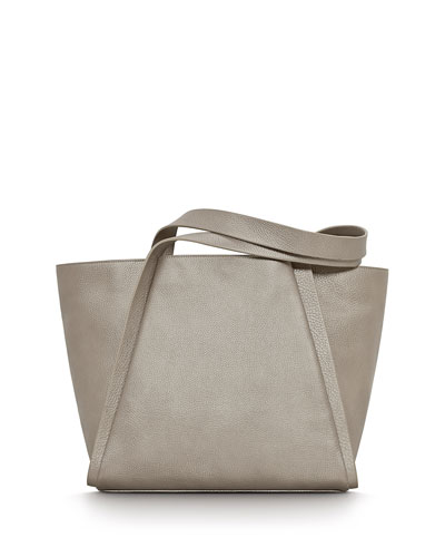 Alex Medium Leather Tote Bag, Metallic Bronze