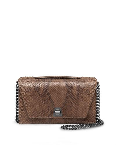 Anouk City Python Shoulder Bag, Olive