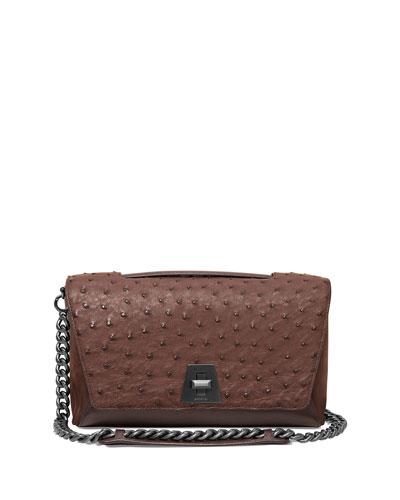 Anouk Day Ostrich & Leather Shoulder Bag, Mocha