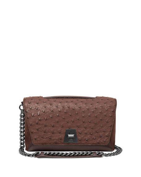 Akris Anouk Day Ostrich & Leather Shoulder Bag,