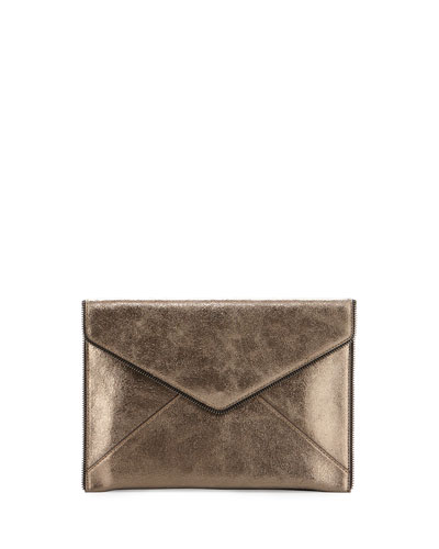 Leo Leather Envelope Clutch Bag, Metallic Anthracite
