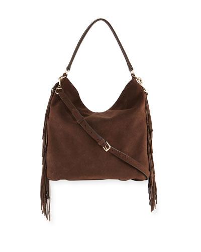 Clark Fringe Suede & Leather Hobo Bag, Bracken