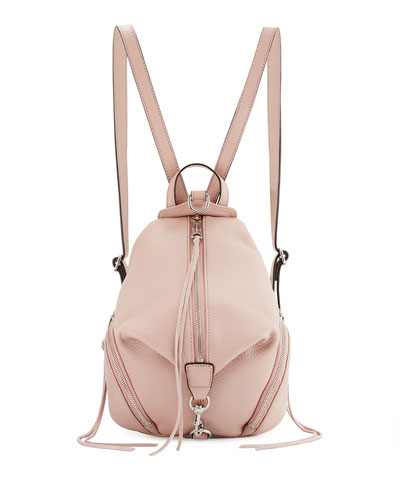 Julian Medium Leather Backpack, Vintage Pink
