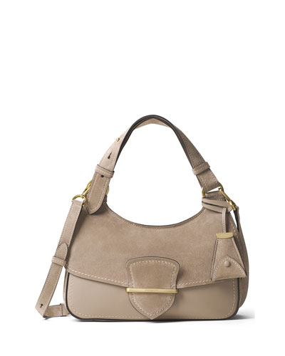 Josie Medium Suede & Leather Shoulder Bag, Dark Taupe