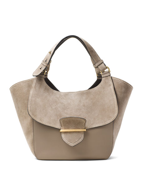 Josie Large Suede & Leather Shopper Tote Bag, Dark Taupe