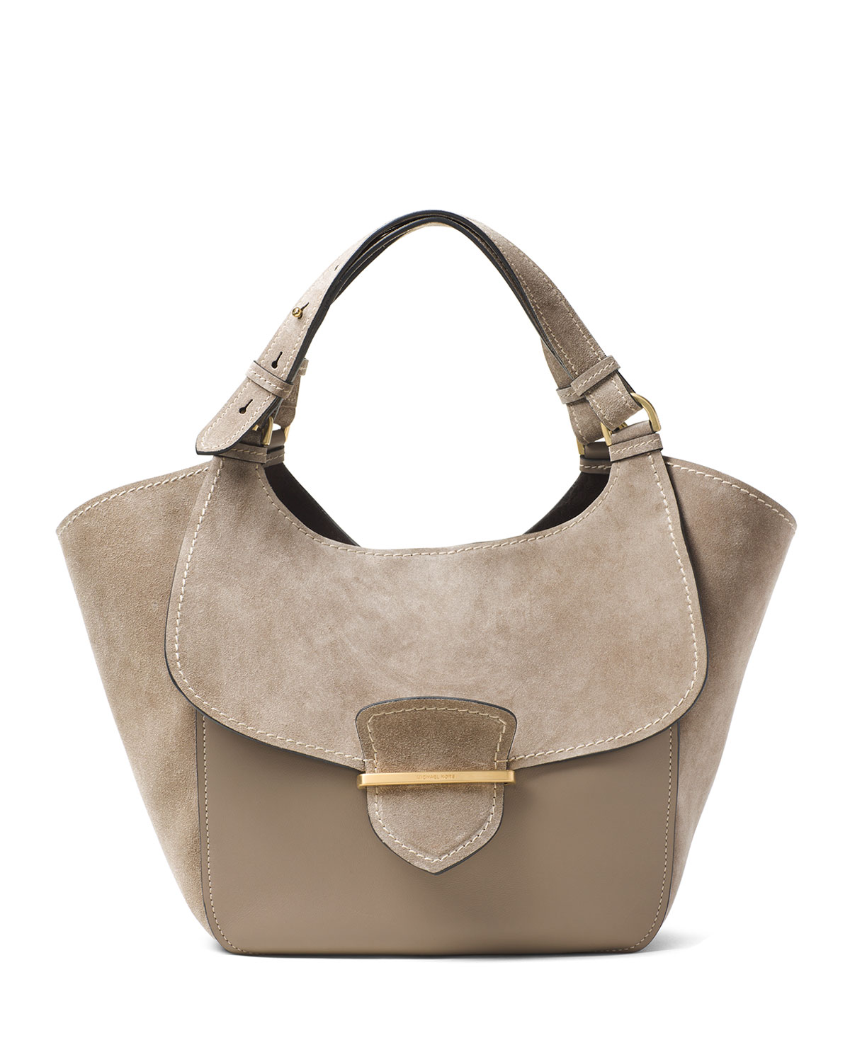 38734aa5483c Michael Kors Josie Large Suede & Leather Shopper Tote Bag, Dark Taupe