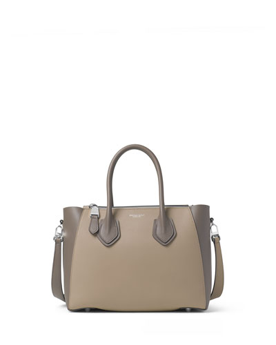 Helena Small Leather Satchel Bag, Dark Taupe