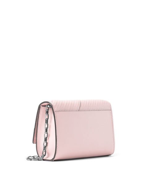 Yasmeen Small Quilted Leather Clutch Bag, Cameo