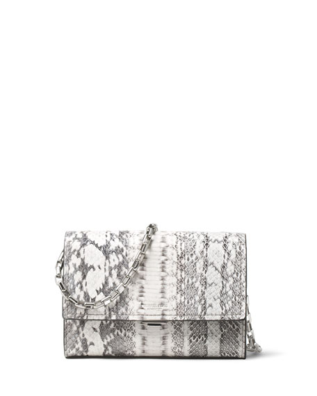 Michael Kors Yasmeen Small Snakeskin Clutch Bag, Natural