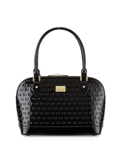 Logo-Embossed Patent Small Dome Satchel Bag, Black