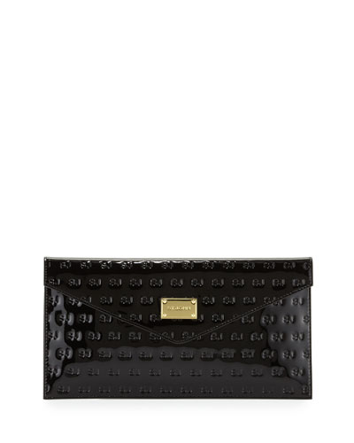 Logo-Embossed Patent Envelope Clutch Bag, Black