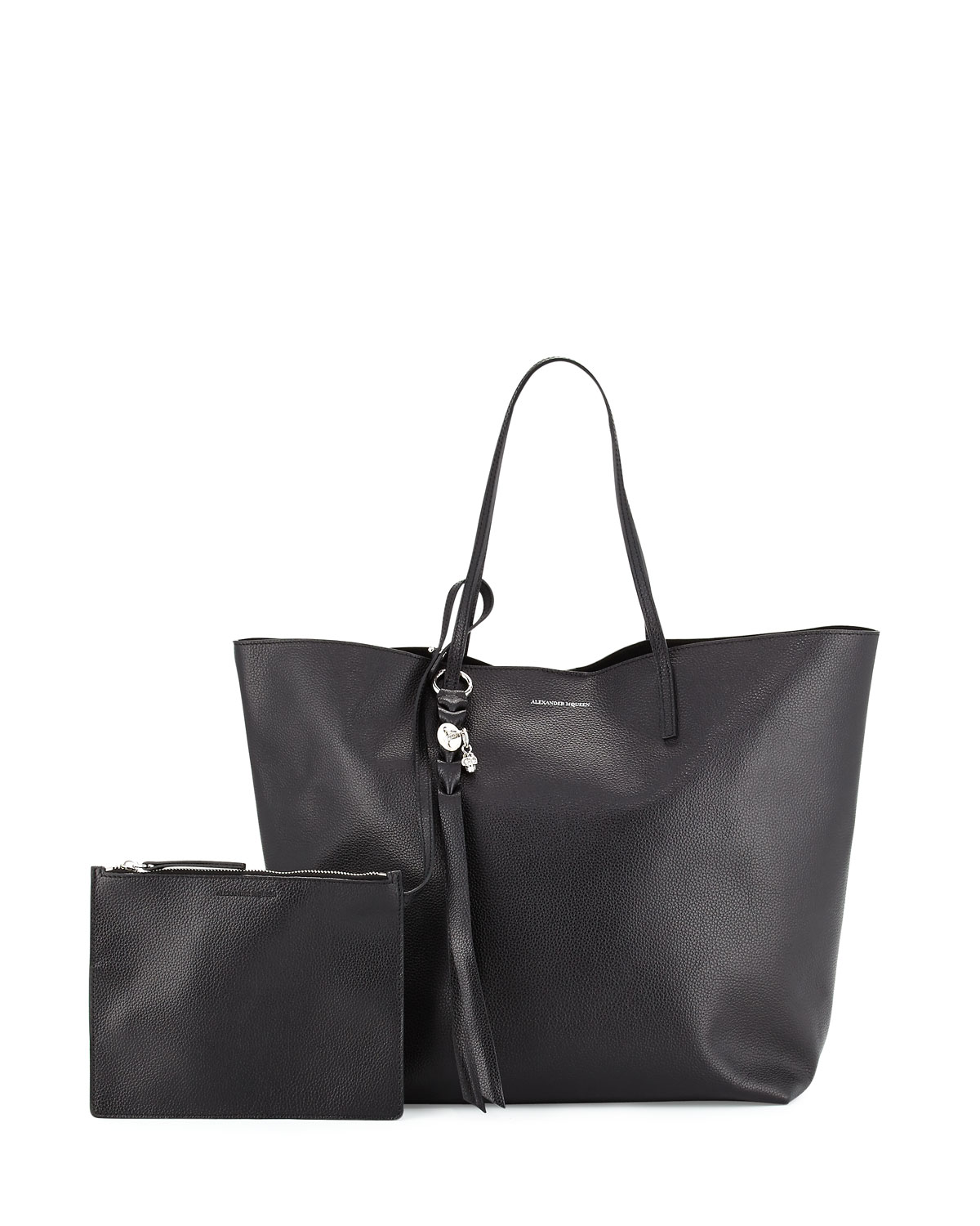 8240a96ec5df Alexander McQueen Skull Open Leather Shopper Tote Bag