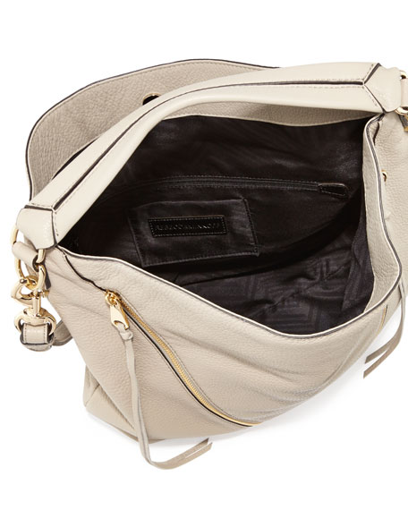 Moto Leather Hobo Bag, Khaki