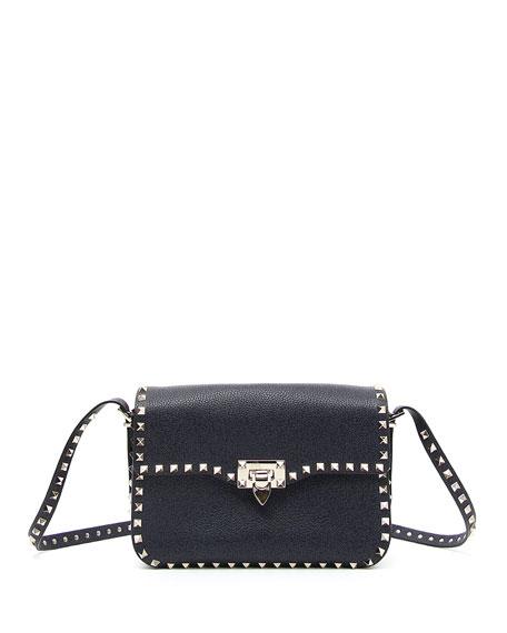 Rockstud Leather Round Flap Shoulder Bag, Denim Blue