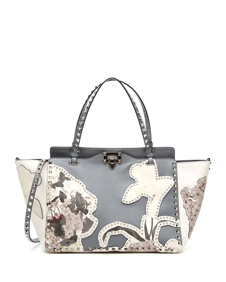 Valentino Garavani Rockstud Medium Floral Tote Bag Light Blue | Neiman Marcus