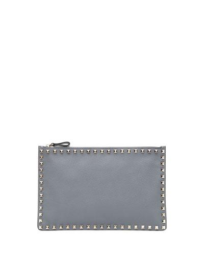 Rockstud Small Zip Clutch Bag, Stone
