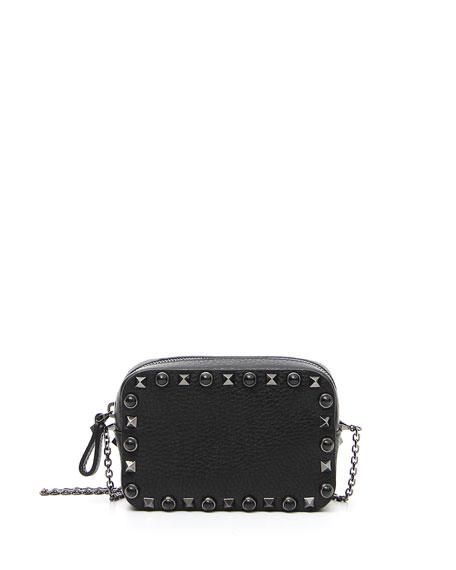 Small Rockstud Chain Camera Crossbody Bag, Black
