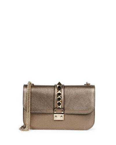Lock Rockstud Metallic Leather Shoulder Bag