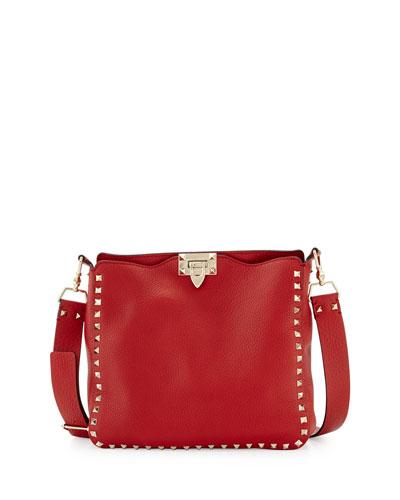 Rockstud Small Flip-Lock Messenger Bag, Red