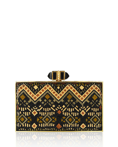 Coffered Rectangle Evening Clutch Bag, Champagne/Jet