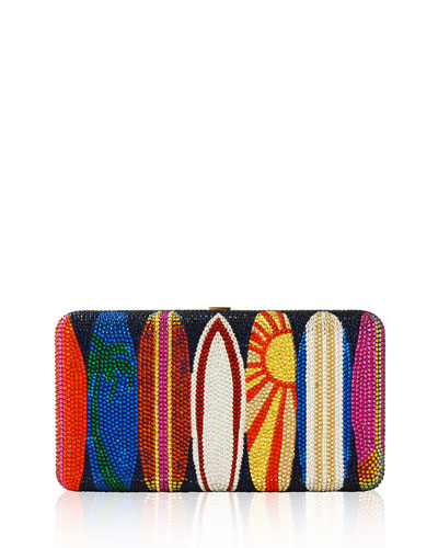 Surfs Up Airstream Crystal Evening Clutch Bag, Champagne/Multi