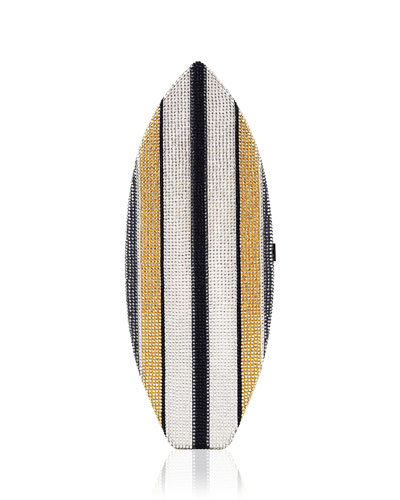 Surfboard Crystal Evening Clutch Bag, Silver/Multi