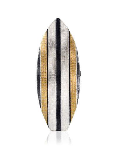 Surfboard Crystal Evening Clutch Bag, Silver/Multi