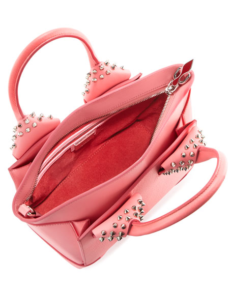 7559218069b Eloise Small Leather Spike Tote Bag Pink