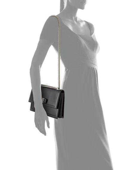 Ginny Medium Patent Shoulder Bag, Nero