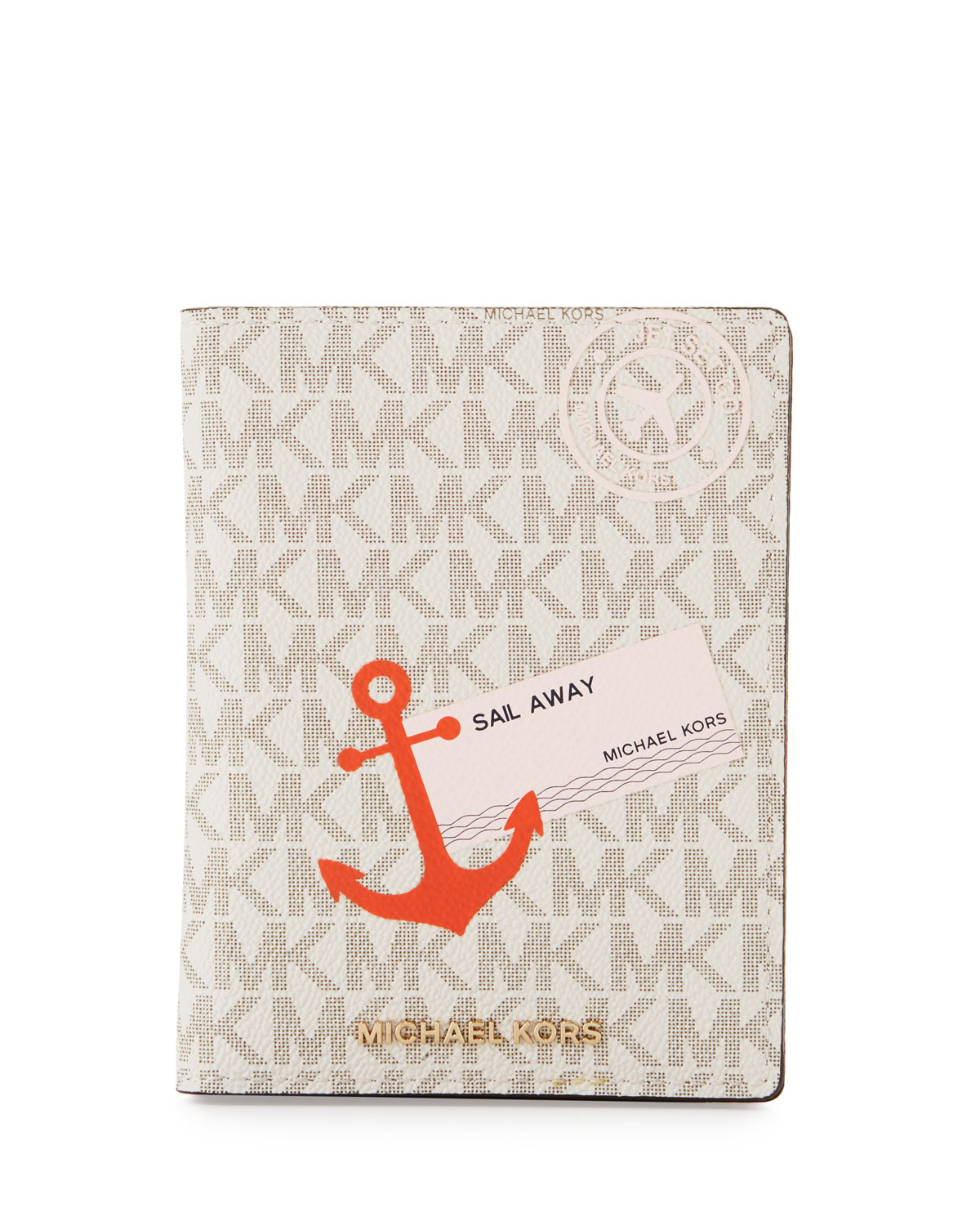 01430e7b3d62 MICHAEL Michael Kors Illustrations Sail Away Passport Wallet, Vanilla/Acorn
