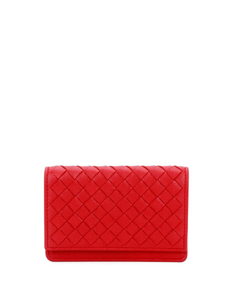 Bottega Veneta Intrecciato Flap Card Case, Red