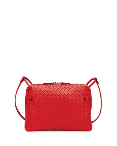 Intrecciato Small Zip Crossbody Bag, Red