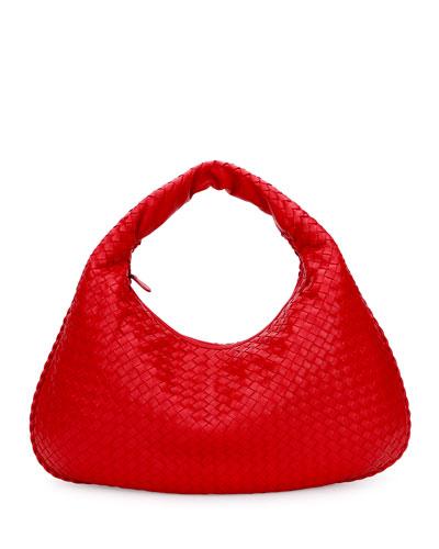 Veneta Intrecciato Large Hobo Bag, Red