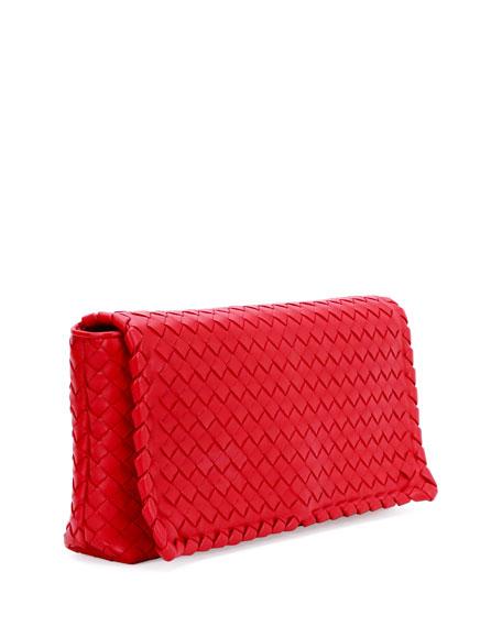 Small Intrecciato Flap Convertible Clutch Bag, Red
