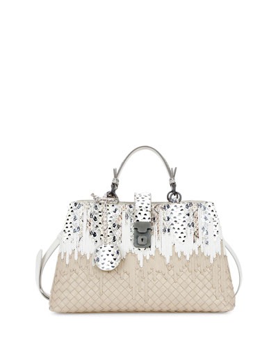 Small Flow Wave Snakeskin Tote Bag, White/Beige