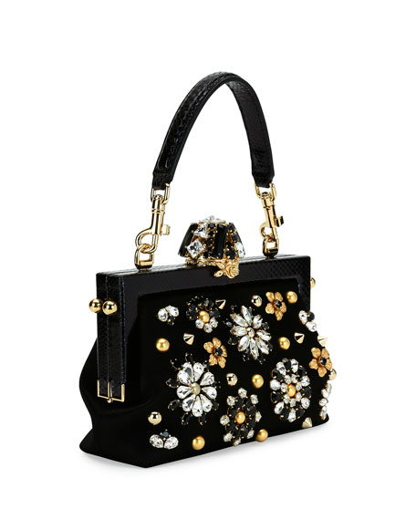 Vanda Small Jeweled Top-Handle Evening Bag, Black