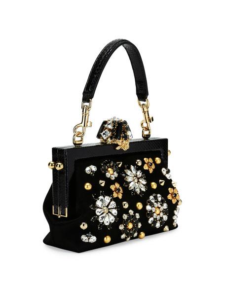 Vanda Small Jeweled Top-Handle Evening Bag, Black
