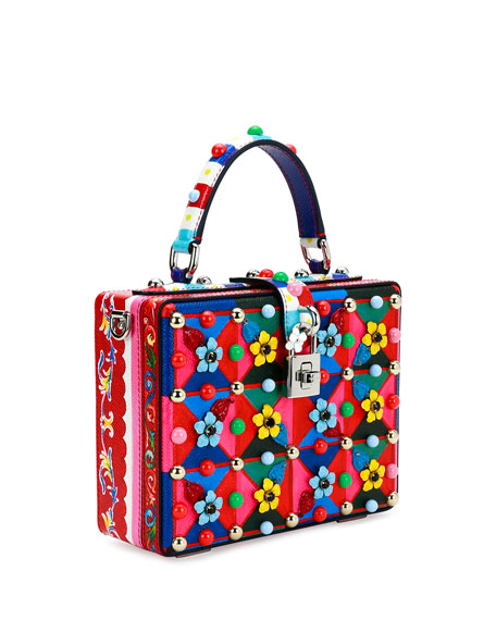 Dolce Box Maiolica-Print Top-Handle Satchel Bag, Multi
