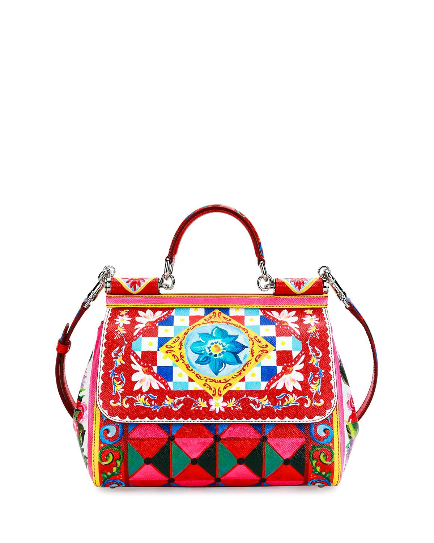 0b9ba1912701 Dolce   GabbanaMiss Sicily Medium Leather St. Maioliche Tile Satchel Bag