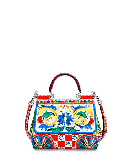 Sicily Small Maiolica-Print Satchel Bag, Multi