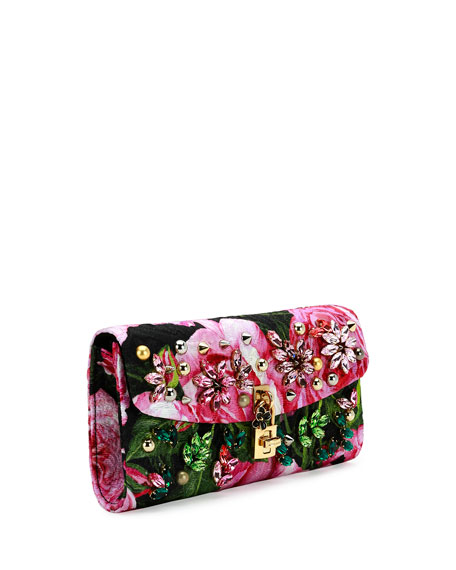 Small Jeweled Rose Brocade Evening Chain Shoulder Bag, Black/Pink/Green